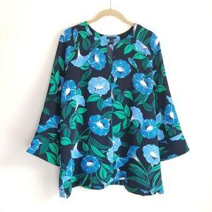 ANN TAYLOR Black Blue Floral Blouse